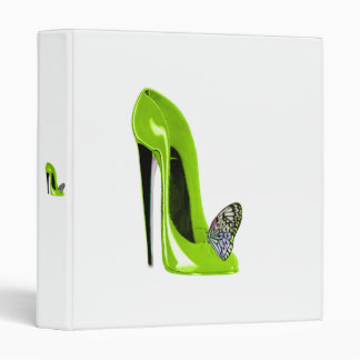 Lime Green Stiletto Shoe and ButterflyAvery Binder