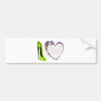 Lime Green Stiletto Shoe and Floral Heart Design Bumper Sticker