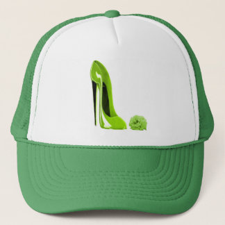 Lime Green Stiletto Shoe and Rose Trucker Hat