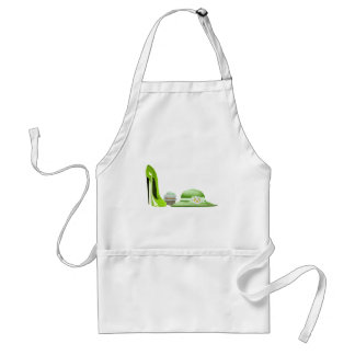 Lime Green Stiletto Shoe, Cupcake and Hat Art Adult Apron