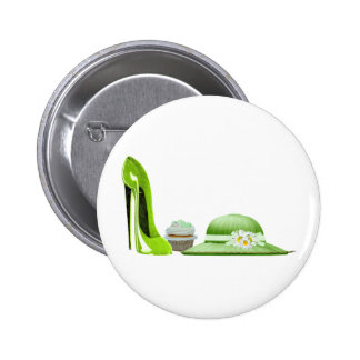 Lime Green Stiletto Shoe, Cupcake and Hat Art Button