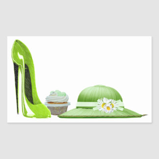 Lime Green Stiletto Shoe, Cupcake and Hat Art Rectangular Stickers