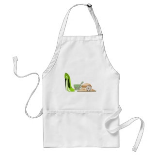 Lime Green Stiletto Shoe, Hat and Teacup Art Adult Apron