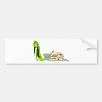 Lime Green Stiletto Shoe, Hat and Teacup Art Car Bumper Sticker