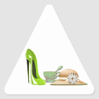 Lime Green Stiletto Shoe, Hat and Teacup Art Triangle Sticker