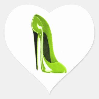 Lime Green Stiletto Shoe Heart Sticker
