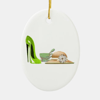 Lime Green Stiletto Shoe, Teacup and Hat Art Ceramic Ornament