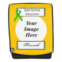 Lime Green Stnd Ribbon Template by Kenneth Yoncich Backpack