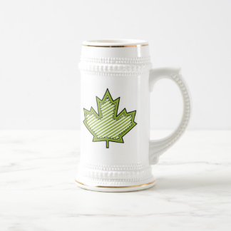 Lime Green Striped Applique Stitched Maple Leaf Beer Stein