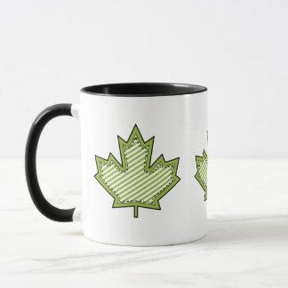 Lime Green Striped Applique Stitched Maple Leaf Mug
