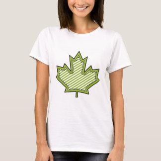 Lime Green Striped Applique Stitched Maple Leaf T-Shirt