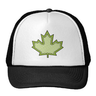 Lime Green Striped Applique Stitched Maple Leaf Trucker Hat