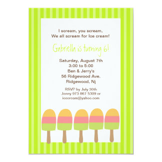 Lime Green Striped Ice Pops Birthday Invitation