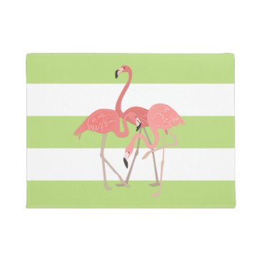 Beach Themed Lime Green Stripes and Flamingos Doormat