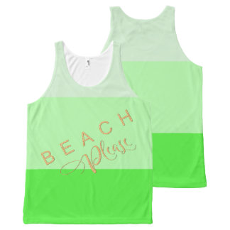 Lime Green Stripes  Beach Please Gold Glitter All-Over-Print Tank Top
