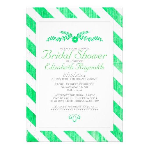 Lime Green Stripes Bridal Shower Invitations Personalized Invitation