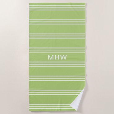Beach Themed Lime Green Stripes custom monogram beach towel