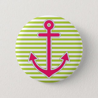 Lime Green Stripes Hot Pink Anchor Nautical Button