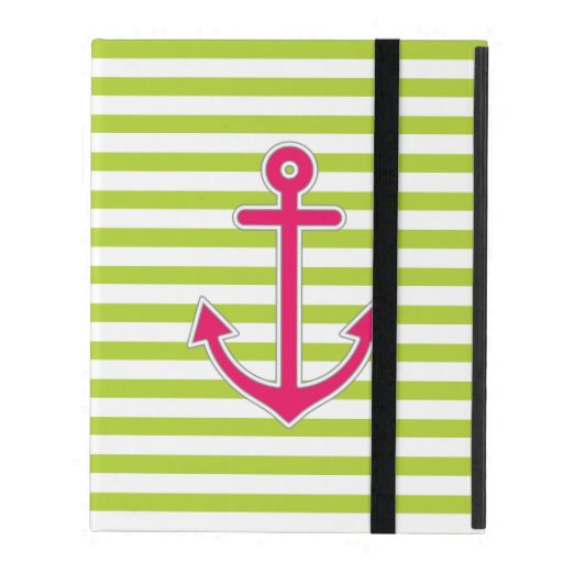 Lime Green Stripes Hot Pink Anchor Nautical iPad Covers