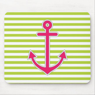 Lime Green Stripes Hot Pink Anchor Nautical Mouse Pad