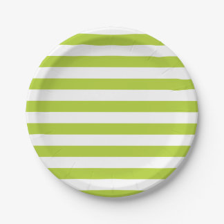 Lime Green Stripes Paper Plate