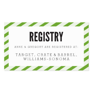 Lime Green Stripes Registry Insert Card Business Cards