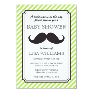 Lime green stripes retro mustache bash baby shower card