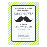 Lime green stripes retro mustache bash baby shower personalized announcements