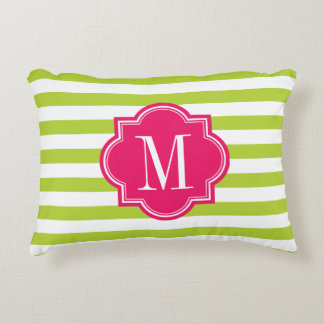 Lime Green Stripes with Hot Pink Monogram Accent Pillow