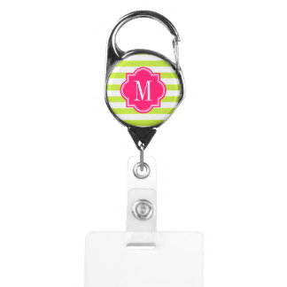 Lime Green Stripes with Hot Pink Monogram Badge Holder