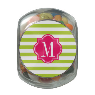 Lime Green Stripes with Hot Pink Monogram Glass Jars