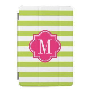 Lime Green Stripes with Hot Pink Monogram iPad Mini Cover