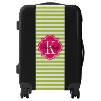 Lime Green Stripes with Hot Pink Monogram Luggage