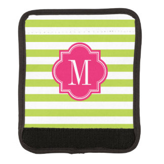 Lime Green Stripes with Hot Pink Monogram Luggage Handle Wrap