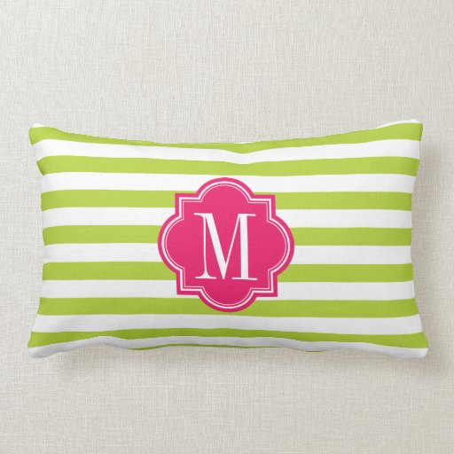 Lime Green Stripes with Hot Pink Monogram Pillow