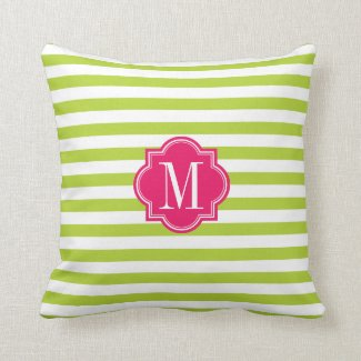 Lime Green Stripes with Hot Pink Monogram Pillows
