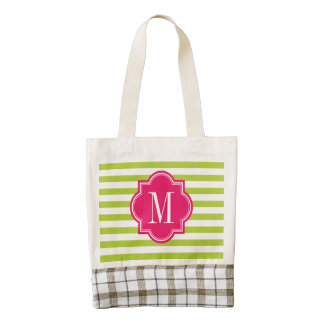 Lime Green Stripes with Hot Pink Monogram Zazzle HEART Tote Bag
