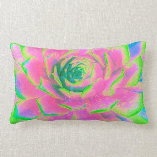 Lime Green Succulent Sedum Detail Lumbar Pillow