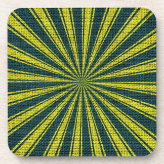 Lime Green Sun Rays Pattern Beverage Coaster