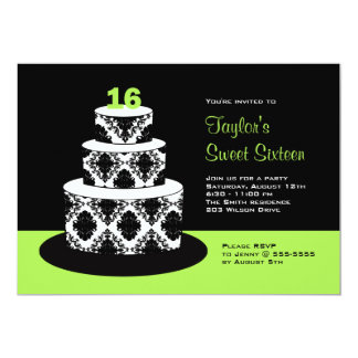 Lime Green Sweet 16 Birthday Party Invitations