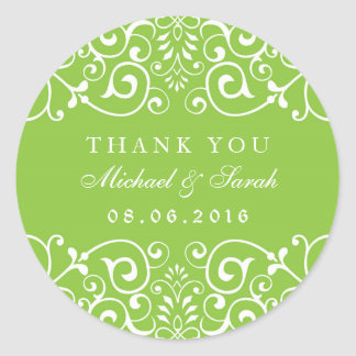 Lime Green Swirl Flower Bridal Shower Sticker