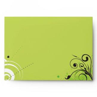 LIME GREEN SWIRLS & STARS Bat Mitzvah Envelope