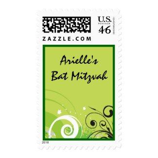 LIME GREEN SWIRLS & STARS Bat Mitzvah Stamp