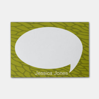 Lime Green Talk Bubble Rounded Personalized Post-it® Notes