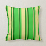 [ Thumbnail: Lime Green, Tan, and Dark Green Colored Lines Throw Pillow ]