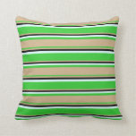[ Thumbnail: Lime Green, Tan, Black, and Light Cyan Colored Throw Pillow ]