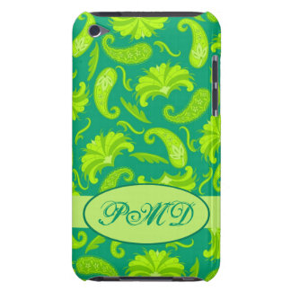 Lime Green Teal Art Deco Paisley Monogram Barely There iPod Cover