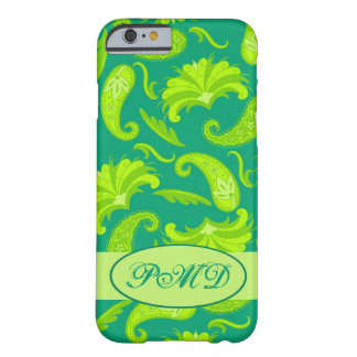 Lime Green Teal Art Deco Paisley Monogram Barely There iPhone 6 Case