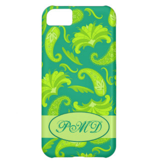 Lime Green Teal Art Deco Paisley Monogram iPhone 5C Cover