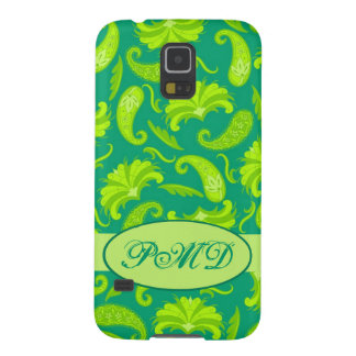 Lime Green Teal Art Deco Paisley Monogram Case For Galaxy S5